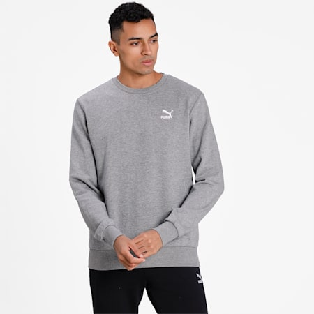 Classics Long Sleeve Men's Crew Neck Sweater, Medium Gray Heather, small-IND
