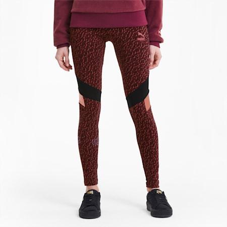 Tailored for Sport Women's Graphic Leggings, Burgundy, small