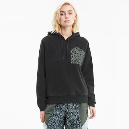 Sudadera con capucha de polar TailoredforSport para mujer, Puma Black, pequeño