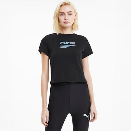Evide Graphic Short Sleeve Women's Crew  T-Shirt, Puma Black, small-IND