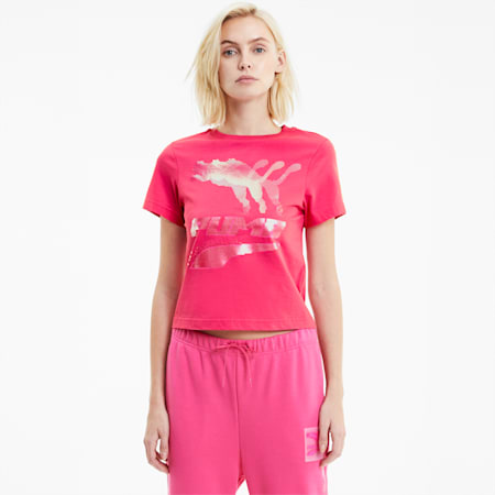 Evide Graphic Short Sleeve Women's Crewneck T-Shirt, Glowing Pink, small-IND