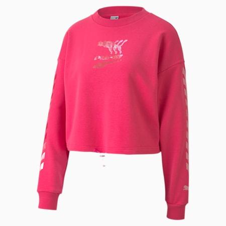 Evide Women's Crewneck Sweatshirt, Glowing Pink, small-IND