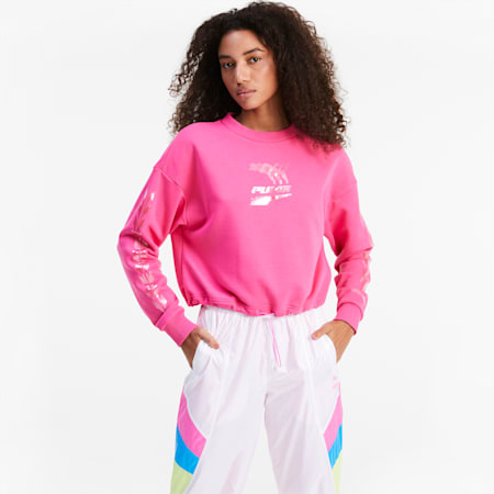 Evide Crew Neck Women's Sweater, Glowing Pink, small