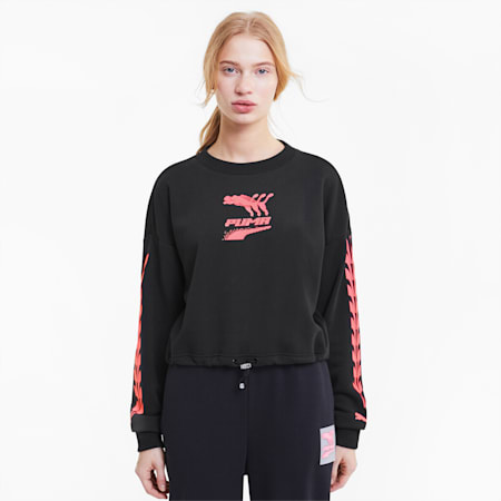 Evide Women's Crewneck Sweatshirt, Puma Black-pink, small