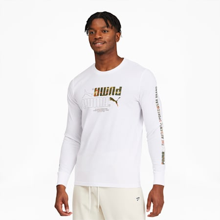 Classics Men's Long Sleeve Graphic Tee, Puma White, small