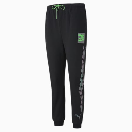 Evide Graphic Relaxed Fit Knitted Women's Track Pants, Puma Black, small-IND