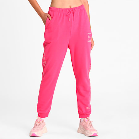 Evide Graphic Knitted Women's Track Pants, Glowing Pink, small-IND
