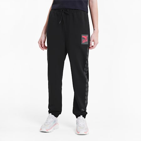 Pantaloni da tuta grafici Evide in maglia da donna, Puma Black-pink, small