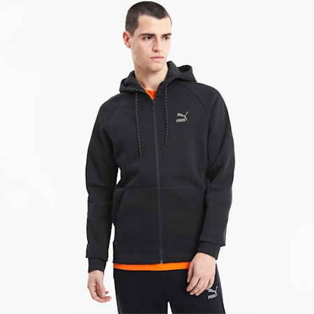 Classics Tech Full Zip Long Sleeve Men's Hoodie, Puma Black, small