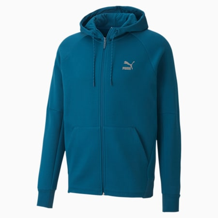 Classics Tech Full Zip Long Sleeve Men's Hoodie, Digi-blue, small-IND