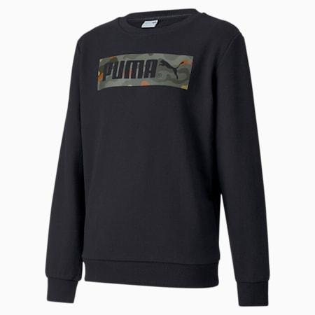 Classics Graphic Crew Neck Kid's Sweater, Puma Black, small-IND