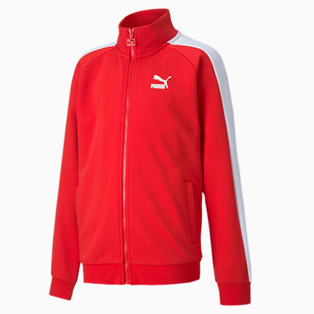 Iconic T7 Boys' Track Jacket, High Risk Red, small