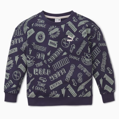 T4C Printed Kids' Crew Neck Sweater, Peacoat, small-IND