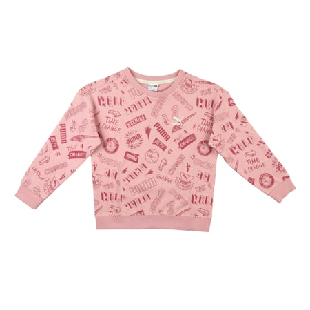 T4C Printed Kids' Crew Neck Sweater, Bridal Rose, small-IND