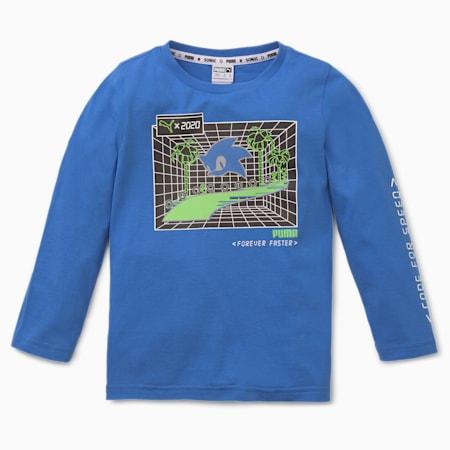 PUMA x SEGA Boys' Long Sleeve Tee, Palace Blue, small