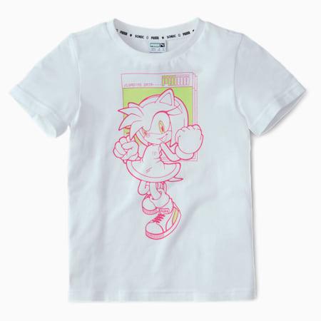 PUMA x SEGA Kids' Tee, Puma White-Glowing Pink, small