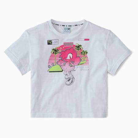 PUMA x SEGA Kids' Graphic Crew Neck T-Shirt, Puma White, small-IND