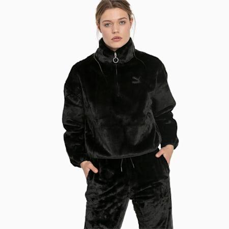 Winter Classics Women's Fleece Half Zip Sweatshirt, Puma Black, small