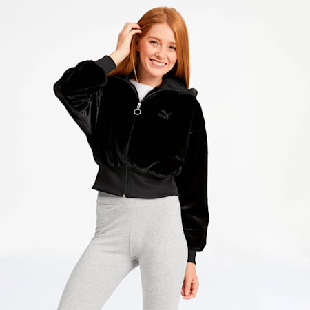 Winter Classics Women's Full Zip Hoodie, Puma Black, small