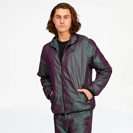 Iridescent Men's Track Jacket, Plum Perfect-Iridescent, small
