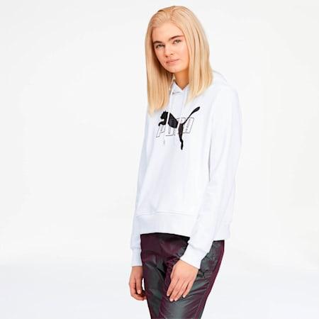 Iridescent Women's Hoodie, Puma White-Black, small