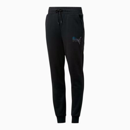 Iridescent Women's Sweatpants, Cotton Black, small