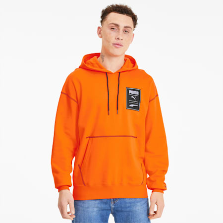 Recheck Pack Graphic Men's Hoodie, Vibrant Orange, small