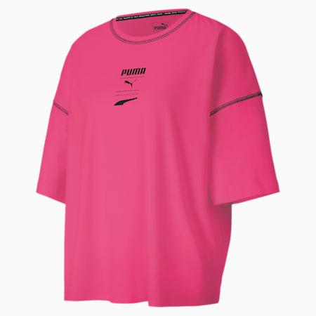 PUMA Recheck Pack Graphic Short Sleeve Women's Tee, BRIGHT ROSE, small-SEA