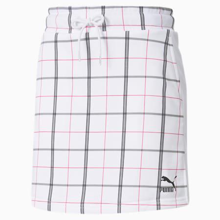 Mini jupe Recheck Pack pour femme, Puma White-AOP, small