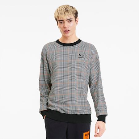 Recheck Pack Crew Neck Men's Sweater, Cotton Black, small-SEA