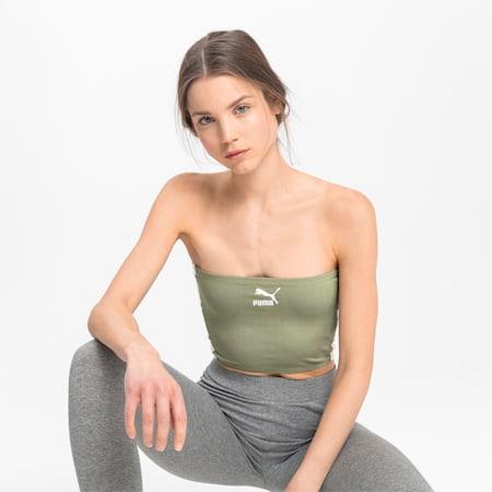 Damska skrócona koszulka, Oil Green, small