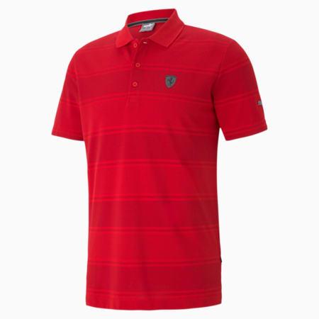 Ferrari Style Striped Regular Fit Men's Slim Polo, Rosso Corsa, small-IND