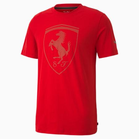 Ferrari Style Big Shield Regular Fit Men's T-Shirt, Rosso Corsa, small-IND