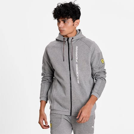 Scuderia Ferrari Race Men's Hooded Sweat Jacket, Medium Gray Heather, small
