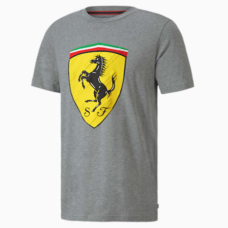 Scuderia Ferrari Race Big Shield Men's T-Shirt, Medium Gray Heather, small-IND