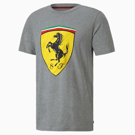 Scuderia Ferrari Race Big Shield Men's Tee, Medium Gray Heather, small-SEA