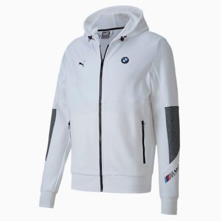 BMW M Motorsport Regular Fit Hooded Men's Sweat Jacket, Puma White, small-IND