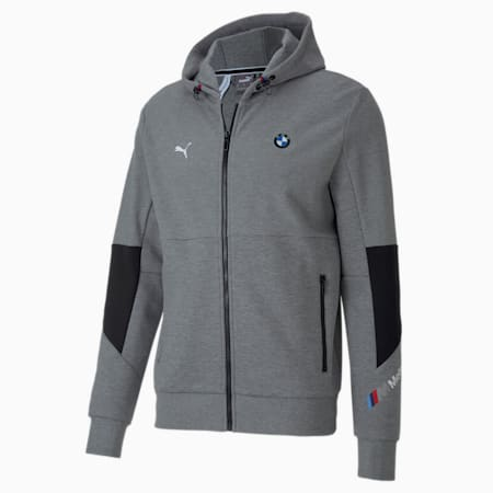 BMW M Motorsport Hooded Men's Sweat Jacket, Medium Gray Heather, small