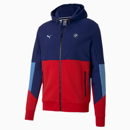 BMW M Motorsport Men's Hooded Sweat Jacket, M COLORS, small