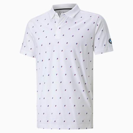 Camiseta tipo polo AOP BMW M Motorsport para hombre, Puma White, pequeño