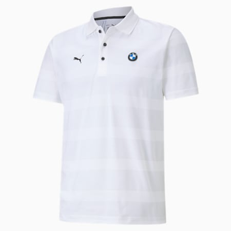 BMW M Motorsport Striped Regular Fit Men's Polo, Puma White, small-IND