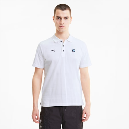 BMW Motorsport Striped Men's Polo Shirt, Puma White, small-IND