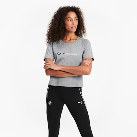 BMW M Motorsport Logo Damen T-Shirt, Medium Gray Heather, small
