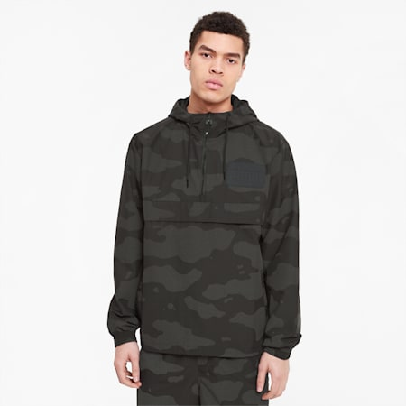 PUMA x THE HUNDREDS Reflective Men's Windbreaker, Puma Black AOP, small-SEA
