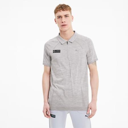 Mercedes RCT evoKNIT Men's Polo Shirt, Mercedes Team Silver Heather, small