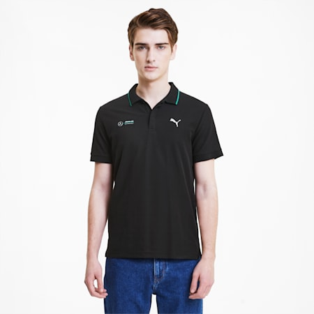 Mercedes Men's Polo Shirt, Puma Black, small-SEA