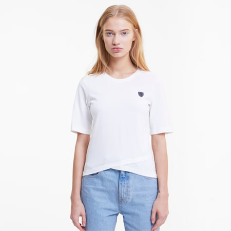 Scuderia Ferrari Shield Damen T-Shirt, Puma White, small