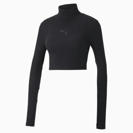 Evide Long Sleeve Women's Crop Top, Puma Black, small