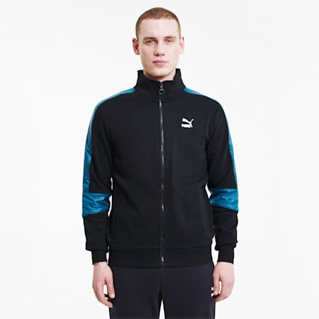 TFS Men's Track Jacket, Puma Black-Digi-blue, small-IND
