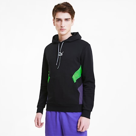 Tailored for Sport Men's Hoodie, Puma Black-Fluo Green, small